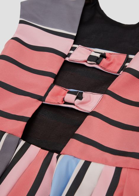 Flared dress with colourful striped, pleated skirt