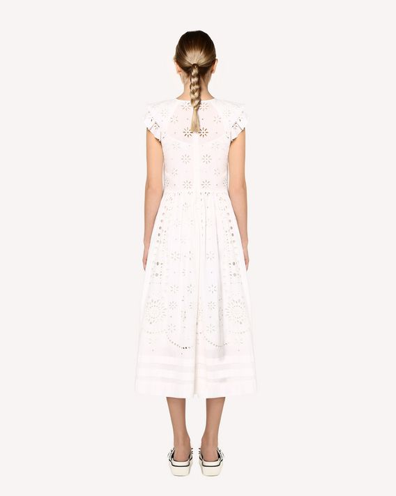 REDValentino Sangallo embroidered cotton voile dress