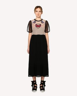 REDValentino Tattoo-embroidered cotton knit dress