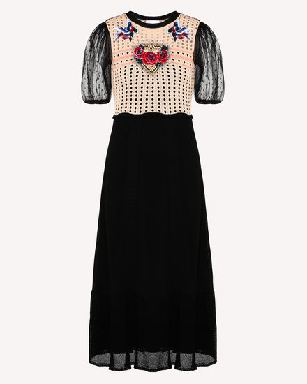 Tattoo-embroidered cotton knit dress