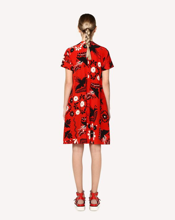REDValentino Decorated Terrace printed Silk dress