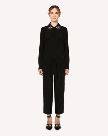 REDValentino Silk jumpsuit with swallow bird patches