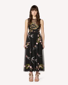 REDValentino Swallows and flowers embroidered tulle dress