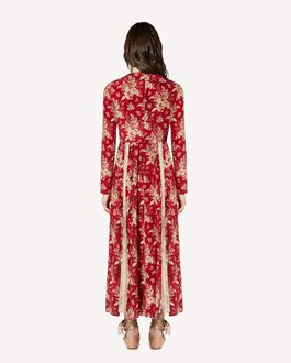 REDValentino Floral Tapestry printed silk and lace dress