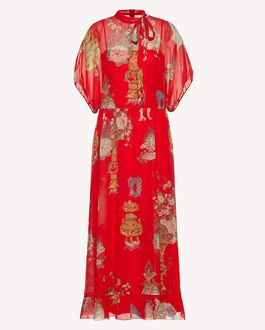 REDValentino Chinese Lacquer printed silk dress