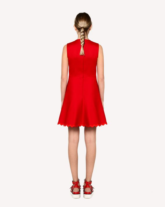 REDValentino Cotton cady dress with zagana ribbon detail