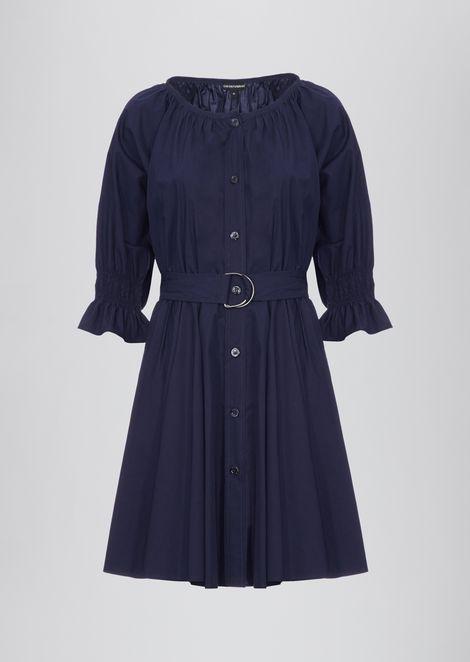 Garment-washed shirt dress in compact muslin