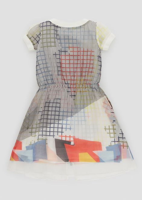 Cotton voile dress with geometric prints