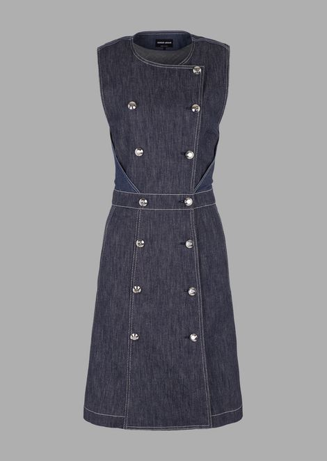 Double-breasted washed stretch denim dress
