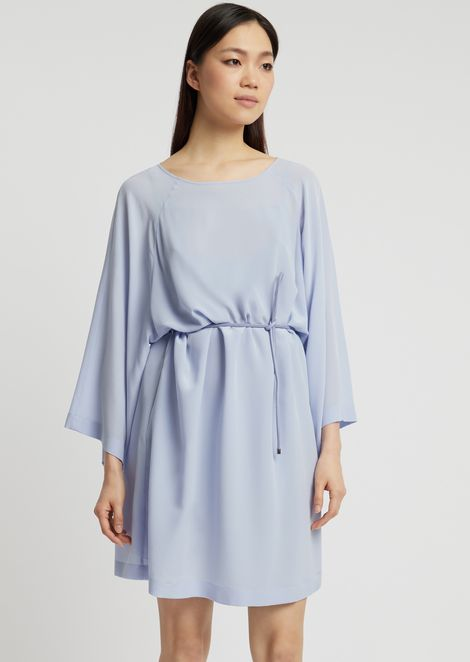 d62e789679a Silk crêpe dress with kimono sleeves