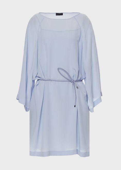 Silk crêpe dress with kimono sleeves