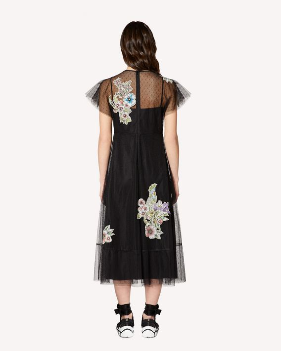 REDValentino Tulle dress with Parrot Ramage patches