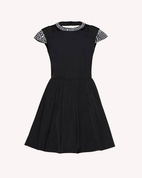REDValentino Twill Taffeta dress with rhinestone detail