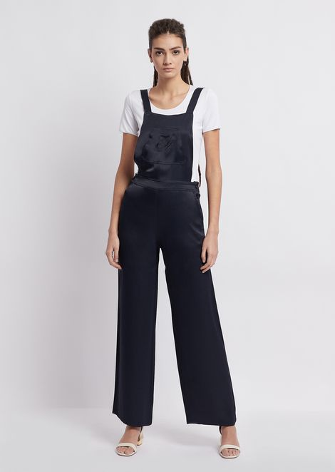 000def2102bd Shiny viscose dungarees with EA embroidery