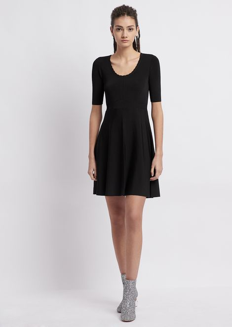 Viscose knit dress with decorative stitching