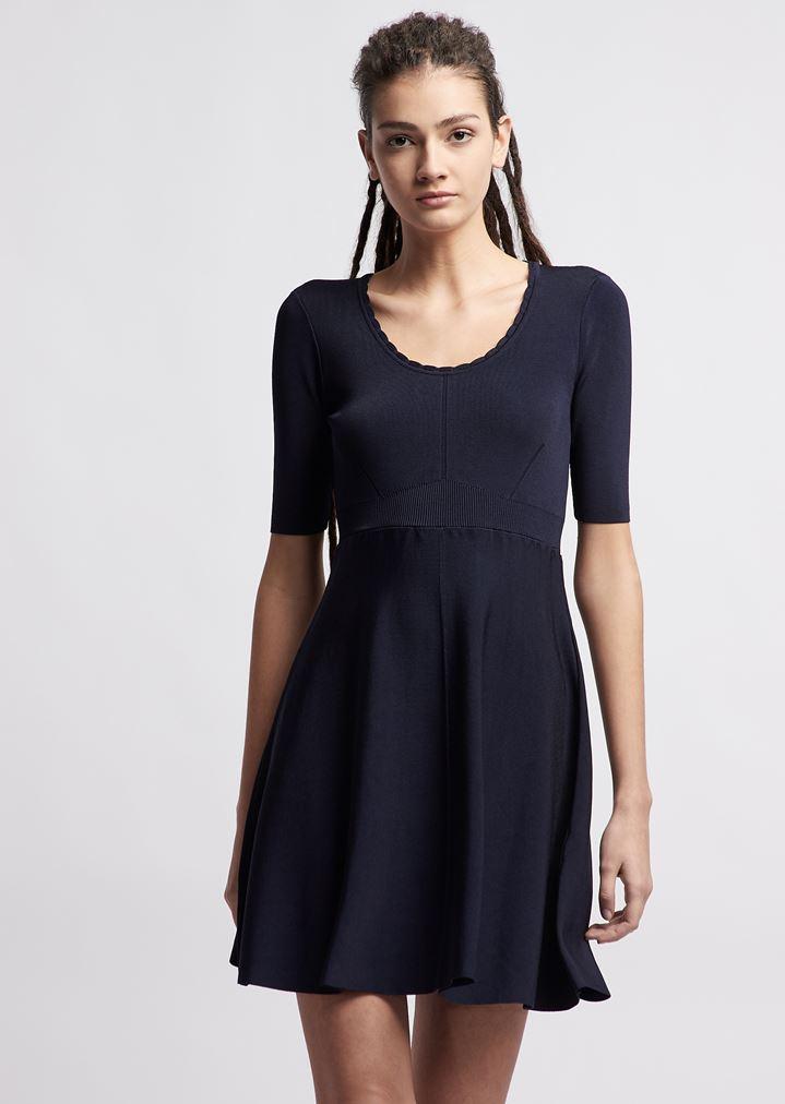 2226e1199593 Vestito in maglia di viscosa con cuciture decorative | Donna | Emporio  Armani