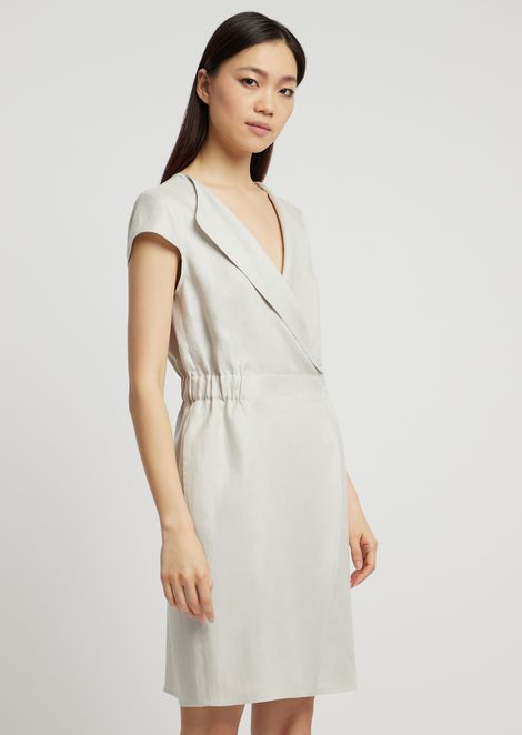 Dress in linen gabardine with lapels