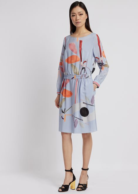 Silk crepe dress printed with flower motif