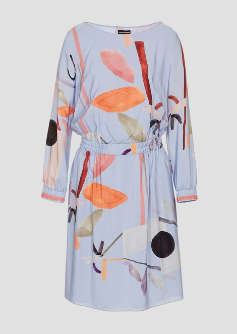 Silk crêpe dress printed with flower motif
