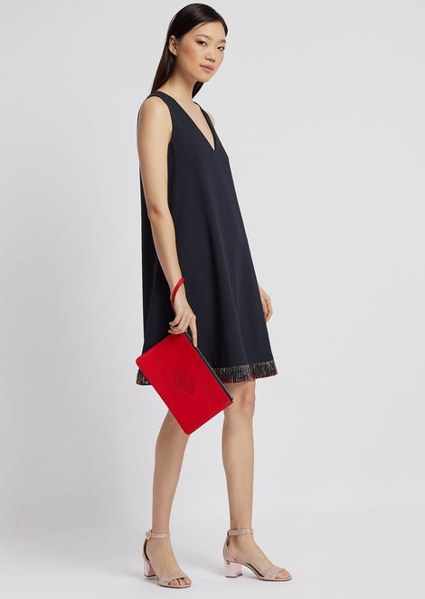 Dress in techno crêpe cady with hem decorated with sequins