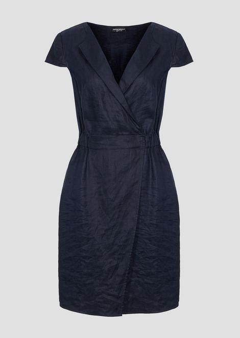 Dress in linen gabardine with lapels
