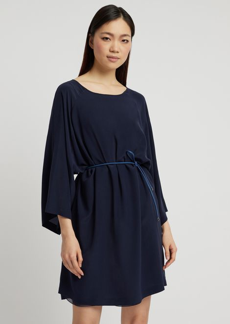 422ed94cf8a99c Silk crêpe dress with kimono sleeves