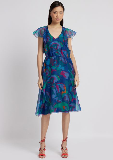 Longuette dress in camouflage flower print organza