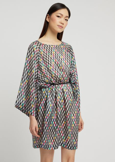 Diamond-patterned silk pekin dress with kimono sleeves