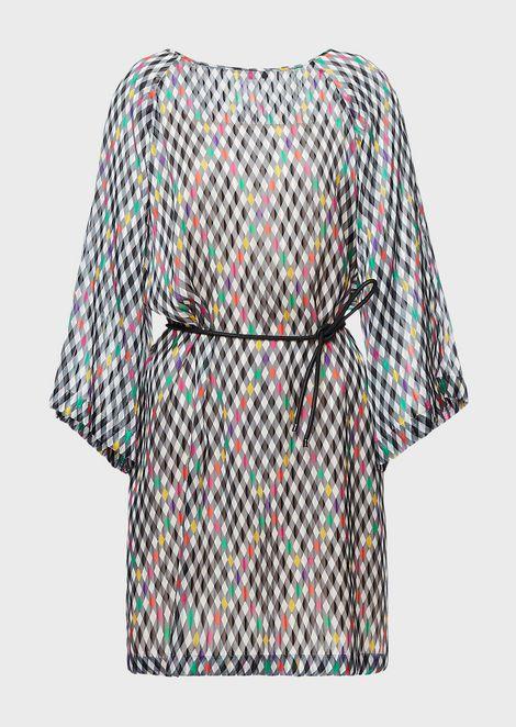 Kleid aus Pekingseide in Rautenmuster mit Kimonoärmeln