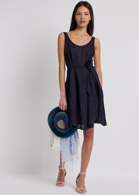Linen canvas dress with belt