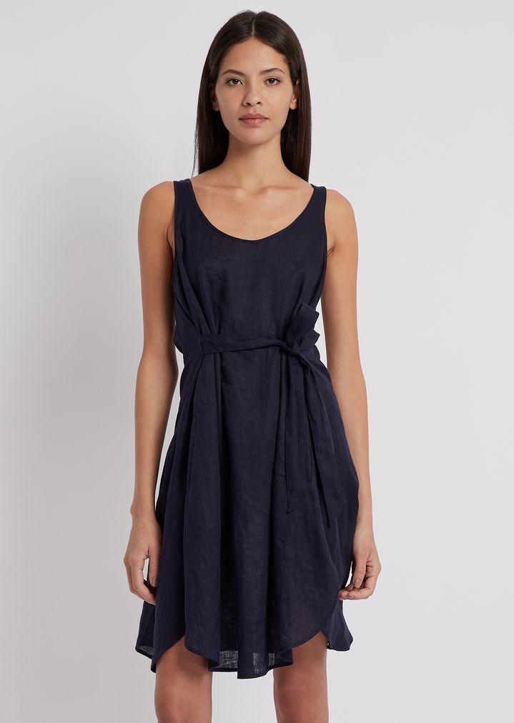 78745f31e19ac3 Vestito in tela lino con cintura   Donna   Emporio Armani