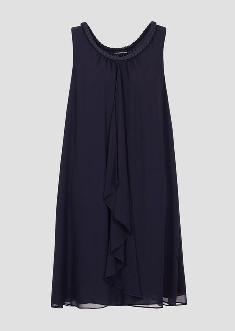 Dress in pure silk with braid on the neckline and soft ruffle