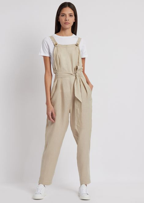 Linen dungarees with matching belt
