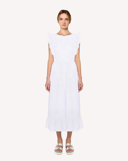 Stretch compact poplin dress, with braided detail