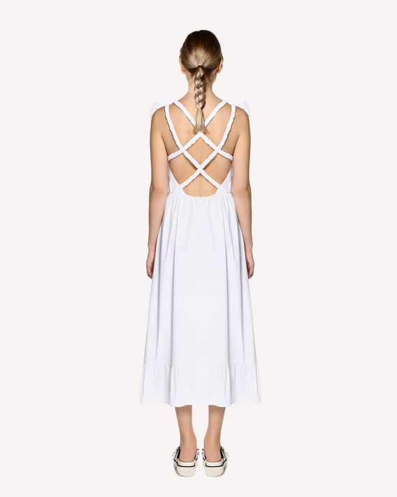 REDValentino Stretch compact poplin dress, with braided detail