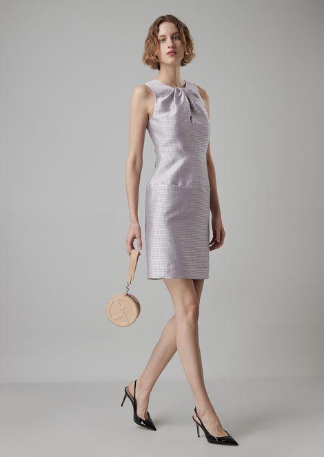 Vestito in tessuto pied de poule con dettaglio torchon sullo scollo