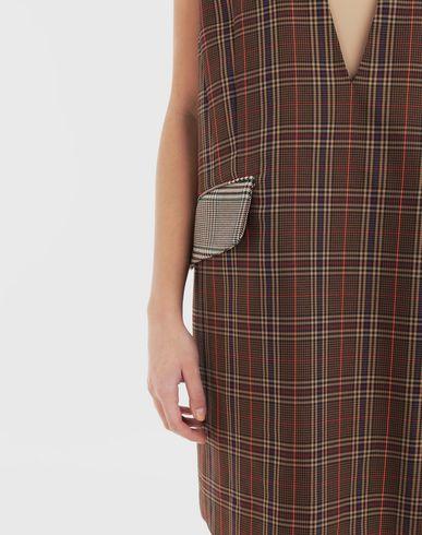 ワンピース・ドレス チェック デコルテ ドレス ブラウン