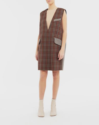 DRESSES Checked décolleté dress Brown