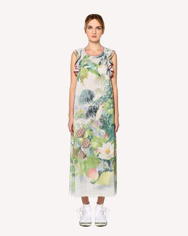 REDValentino Mexican Landscape printed silk dress