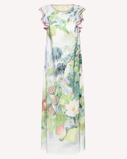 Mexican Landscape printed silk dress