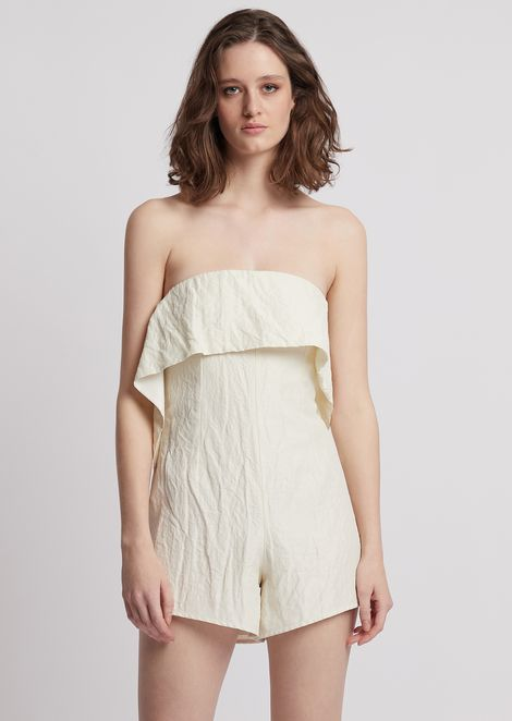 Jumpsuit with shorts and maxi ruches on the front