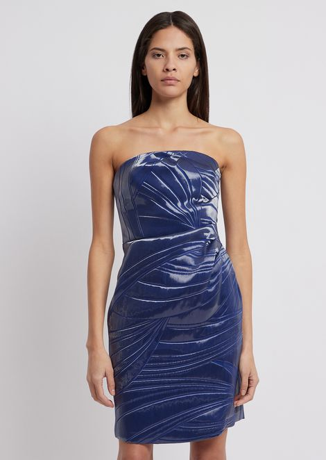 Tube dress in liquid-effect jacquard fabric