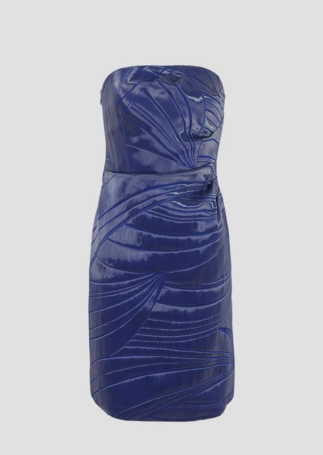 Tube dress in liquid-effect jacquard fabric