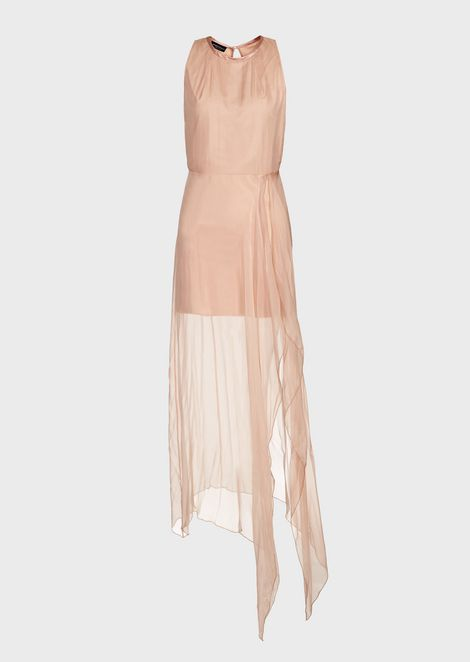 Georgette dress with long draped skirt in silk chiffon