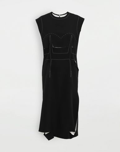 MAISON MARGIELA 3/4 length dress [*** pickupInStoreShipping_info ***] Décortiqué embroidered dress f