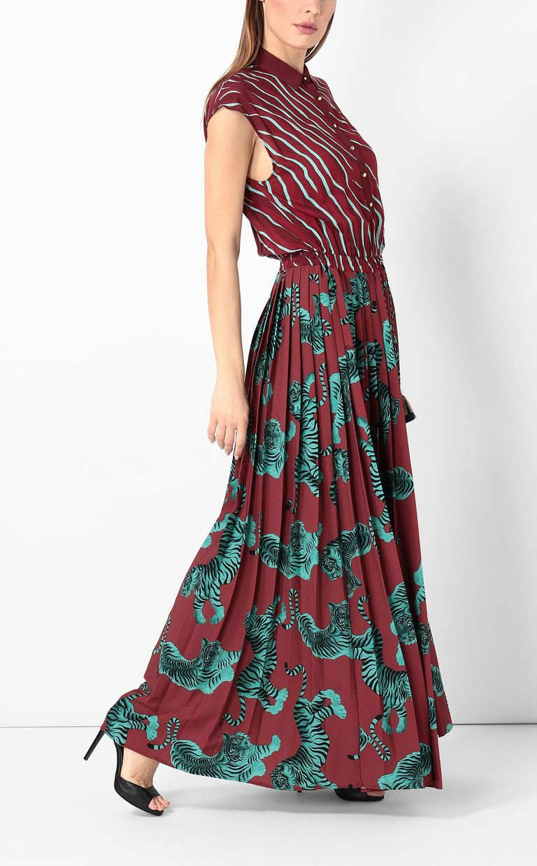"JUST CAVALLI Long pleated ""Chasing-Tiger"" dress Long dress Woman d"