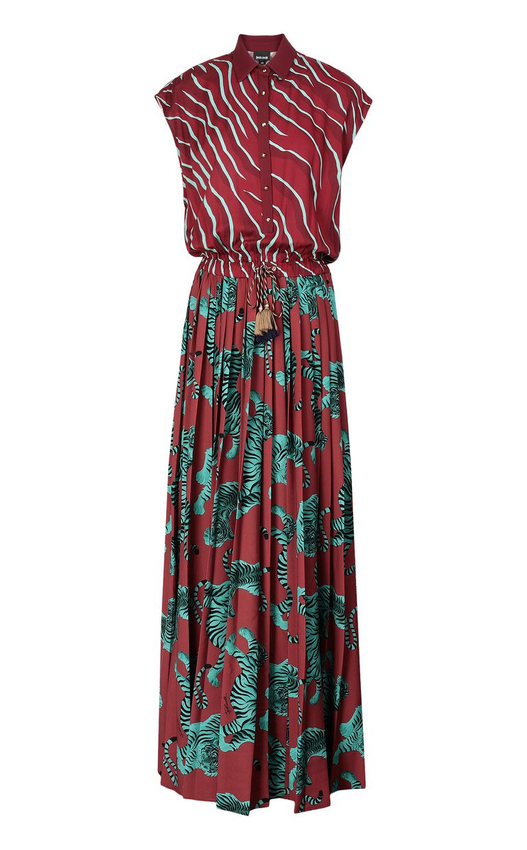 "JUST CAVALLI Long pleated ""Chasing-Tiger"" dress Long dress Woman f"