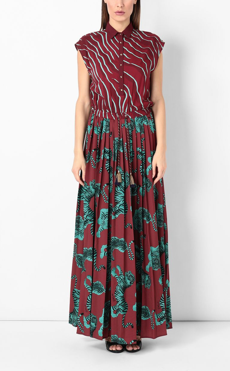 "JUST CAVALLI Long pleated ""Chasing-Tiger"" dress Long dress Woman r"