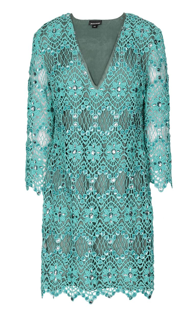 JUST CAVALLI Green macramé dress Dress Woman f