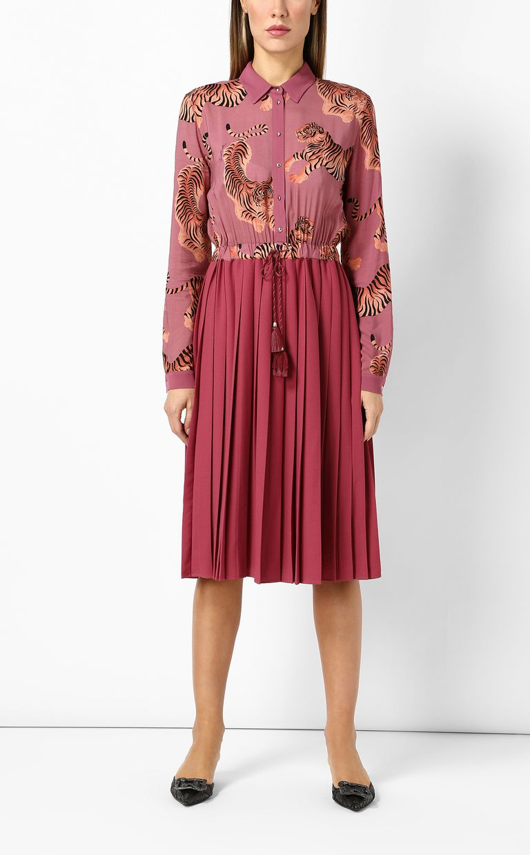 """JUST CAVALLI Pleated """"Chasing-Tiger"""" print dress Dress Woman d"""